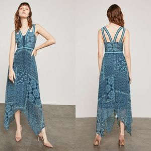 BCBG Blue Floral Tile Patchwork Maxi Dress